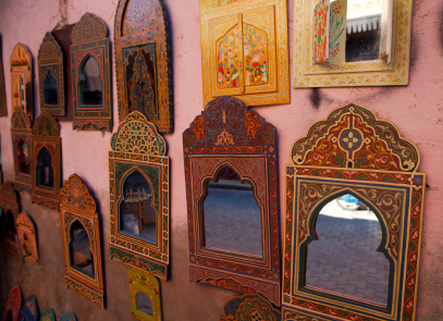 Collection of mirrors, Marrakech, Morocco
