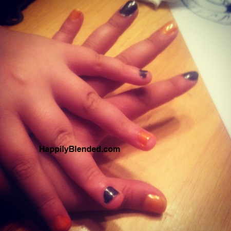 Black and Orange Nails