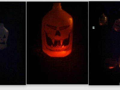 Fun Family Halloween Craft – Pumpkin Water Jugs #craft #diy #halloween