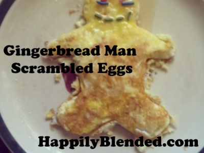 Gingerbread Man Scrambled Eggs with Honey and Sprinkles