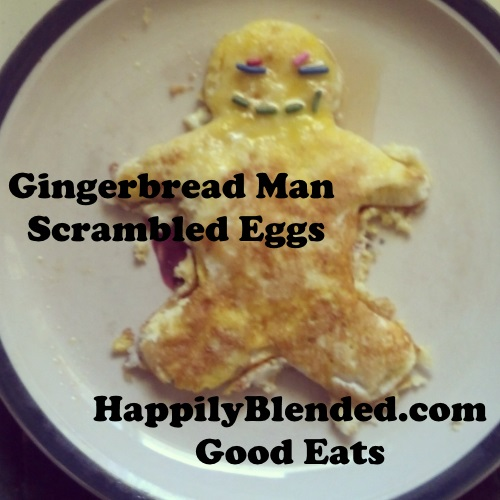 Gingerbread Man Scrambled Eggs by HappilyBlended.com #foodie #recipe
