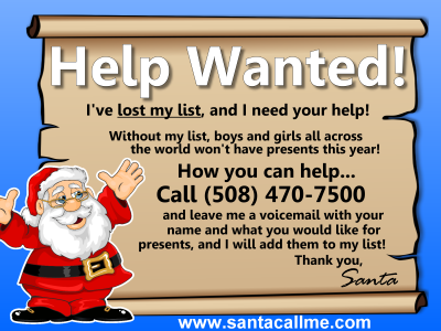 Santa Lost His List … Can you Help him find his Christmas List?
